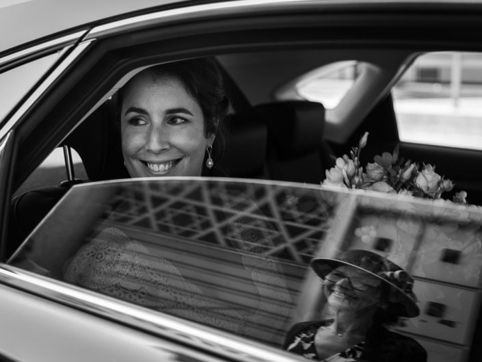 mariage reflet vitre voiture maman